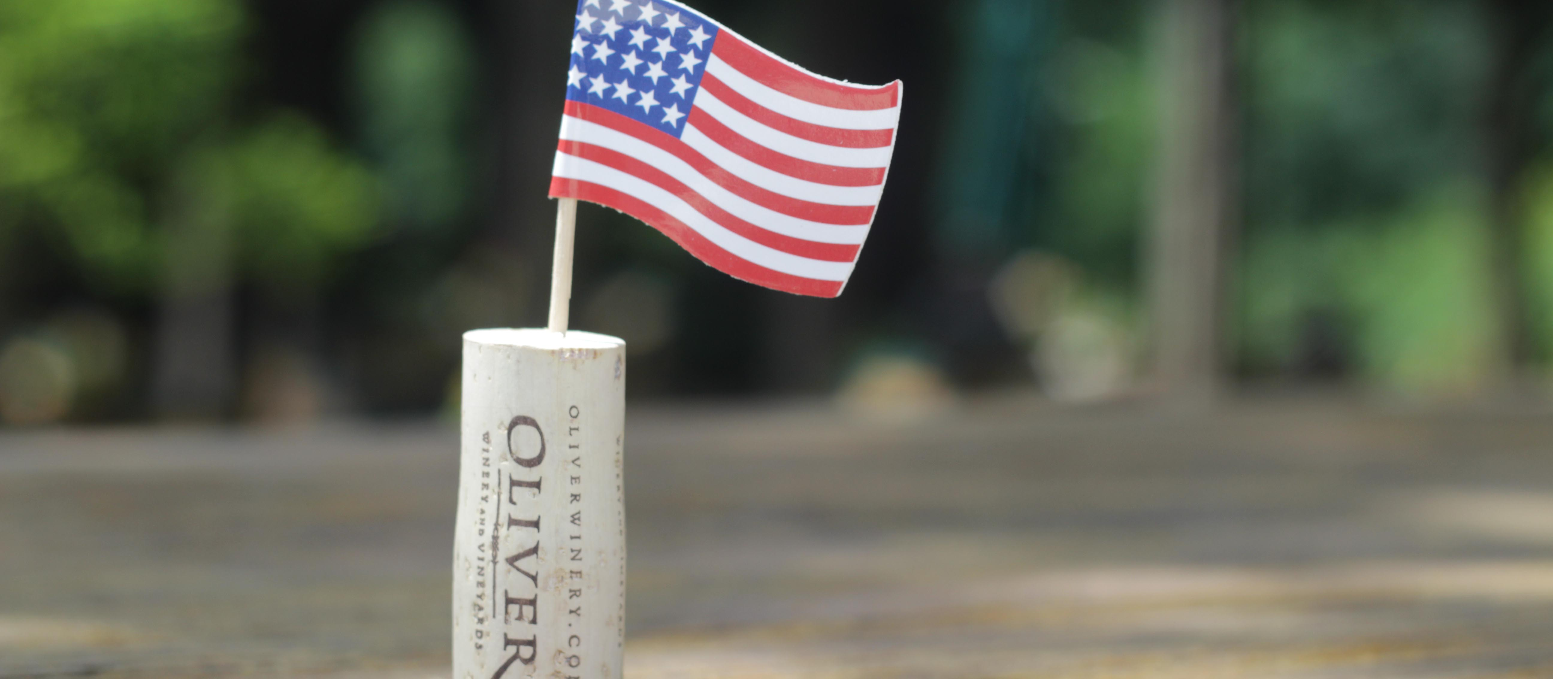 Oliver Winery cork with American flag.