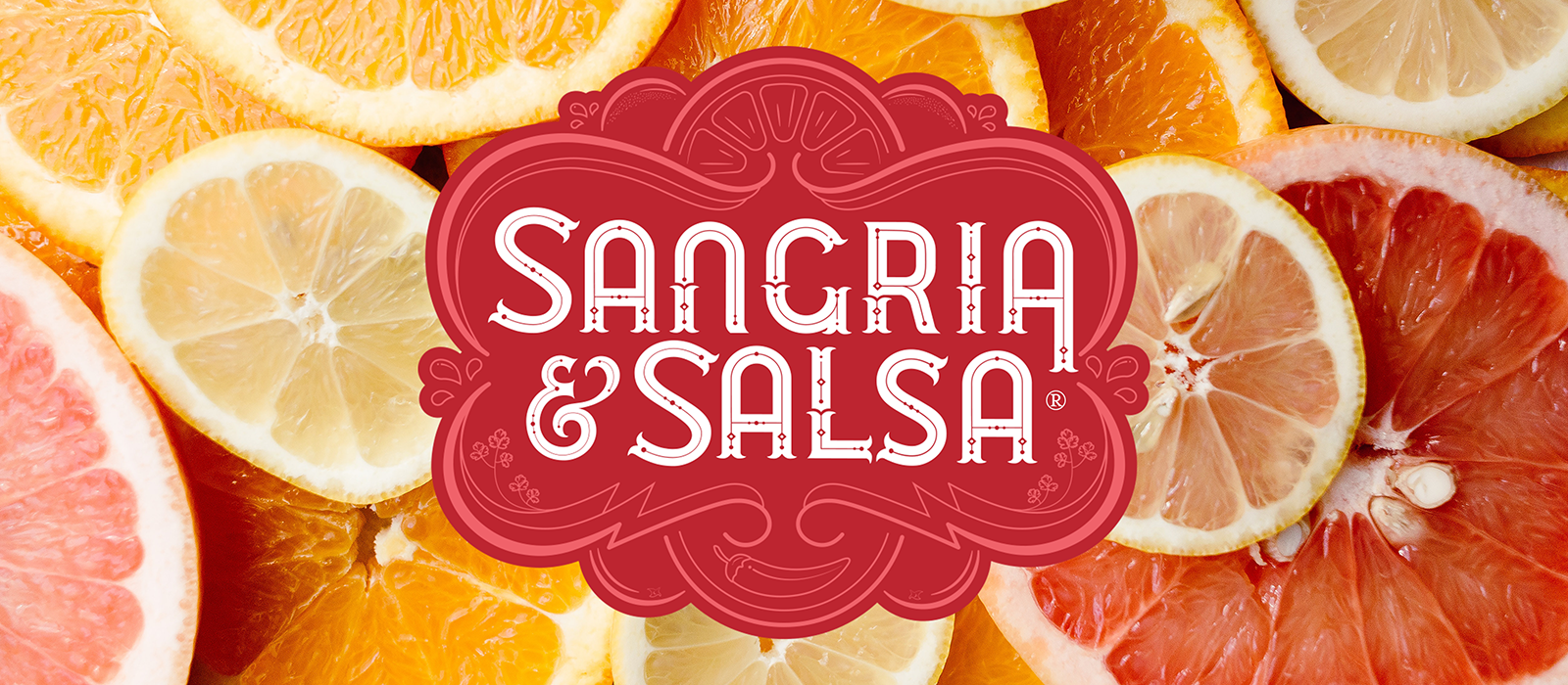 "Sliced citrus, with ""Sangria & Salsa"" icon, to showcase Sangria and Salsa flights available at Oliver Winery every weekend in July."