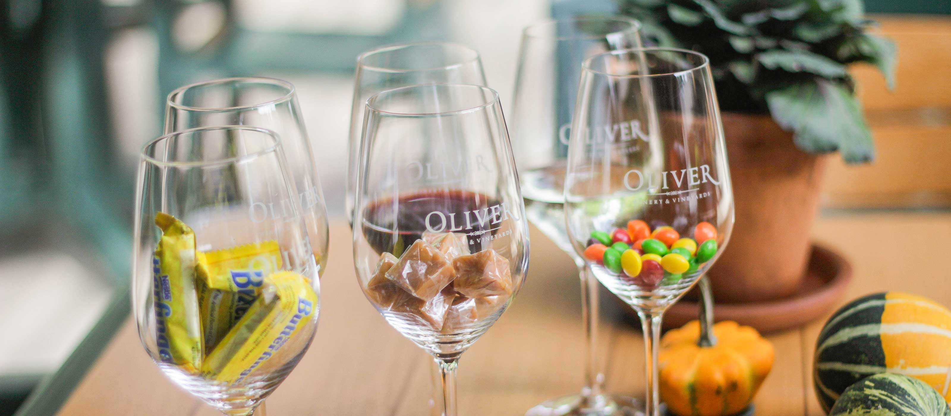 Classic Halloween candies paired with your favorite Oliver Wines