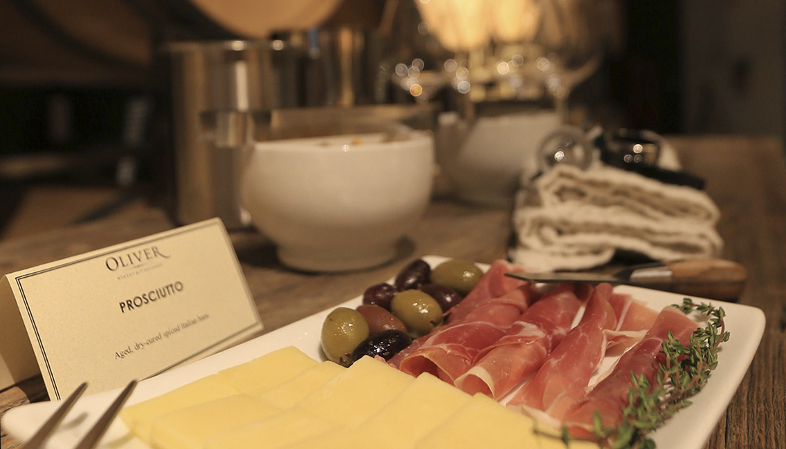 A delicious spread awaits event guests in the timber-frame tasting room.