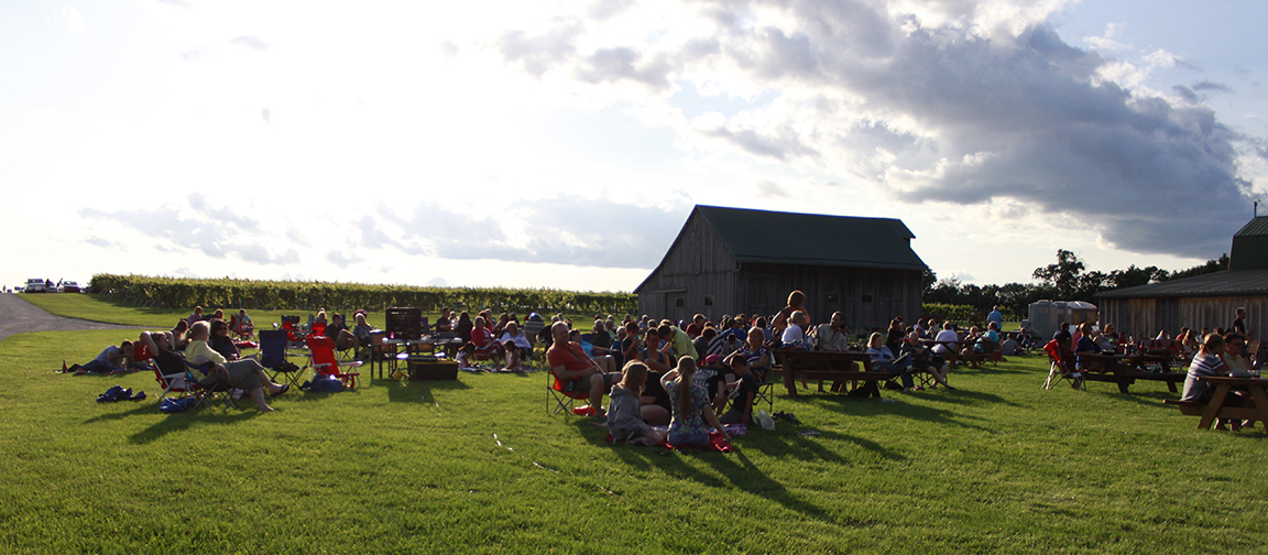 Guests enjoy live music at Oliver Winery's Creekbend Vineyard during Cork & Fork.