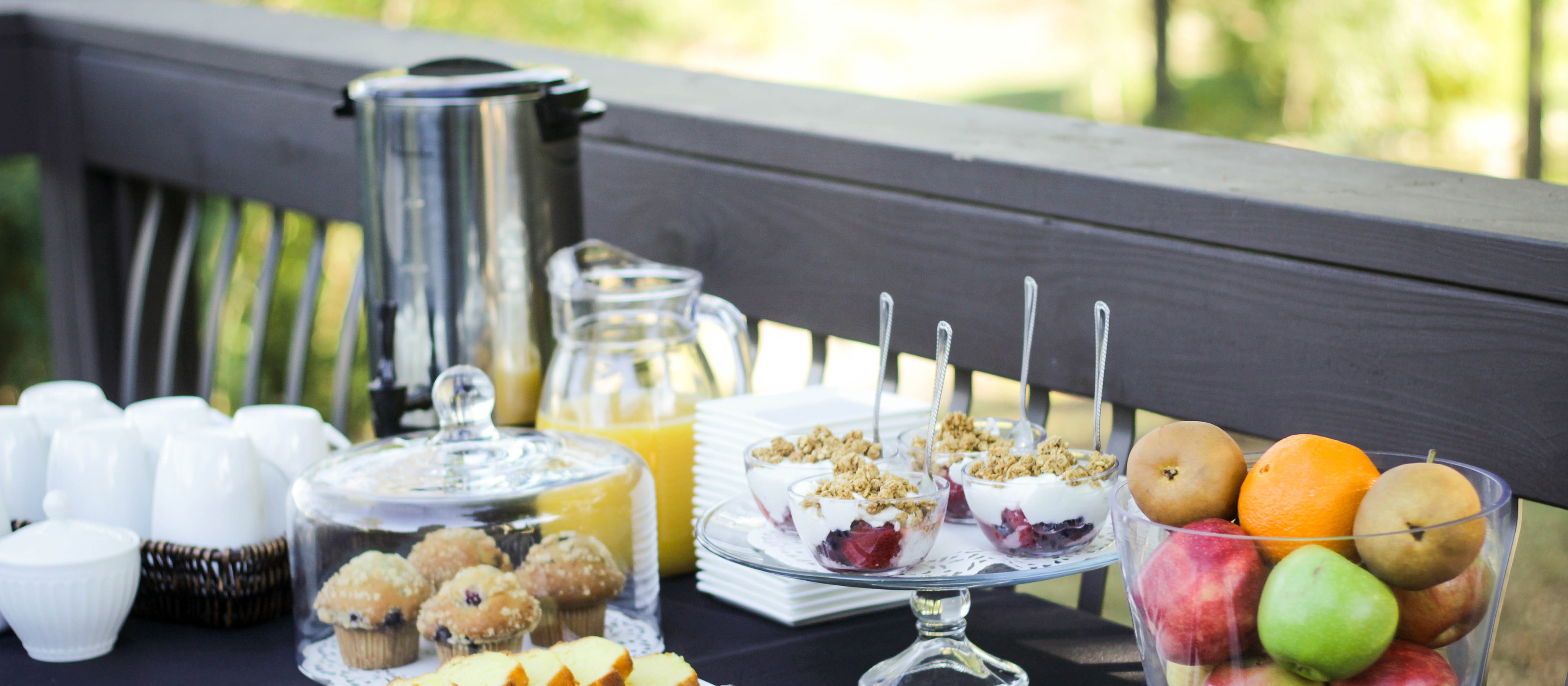 Light breakfast spread at Music and Mimosas events at Oliver Winery.