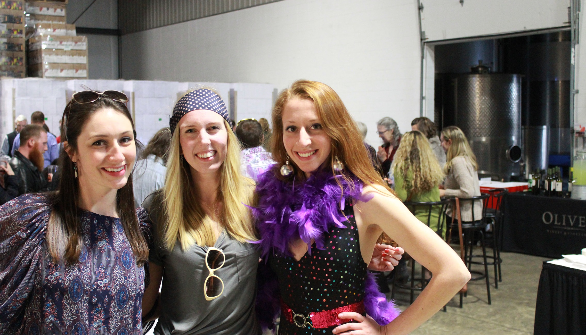 Disco-themed costumes and casino games during Oliver Winery's annual Casino Night.