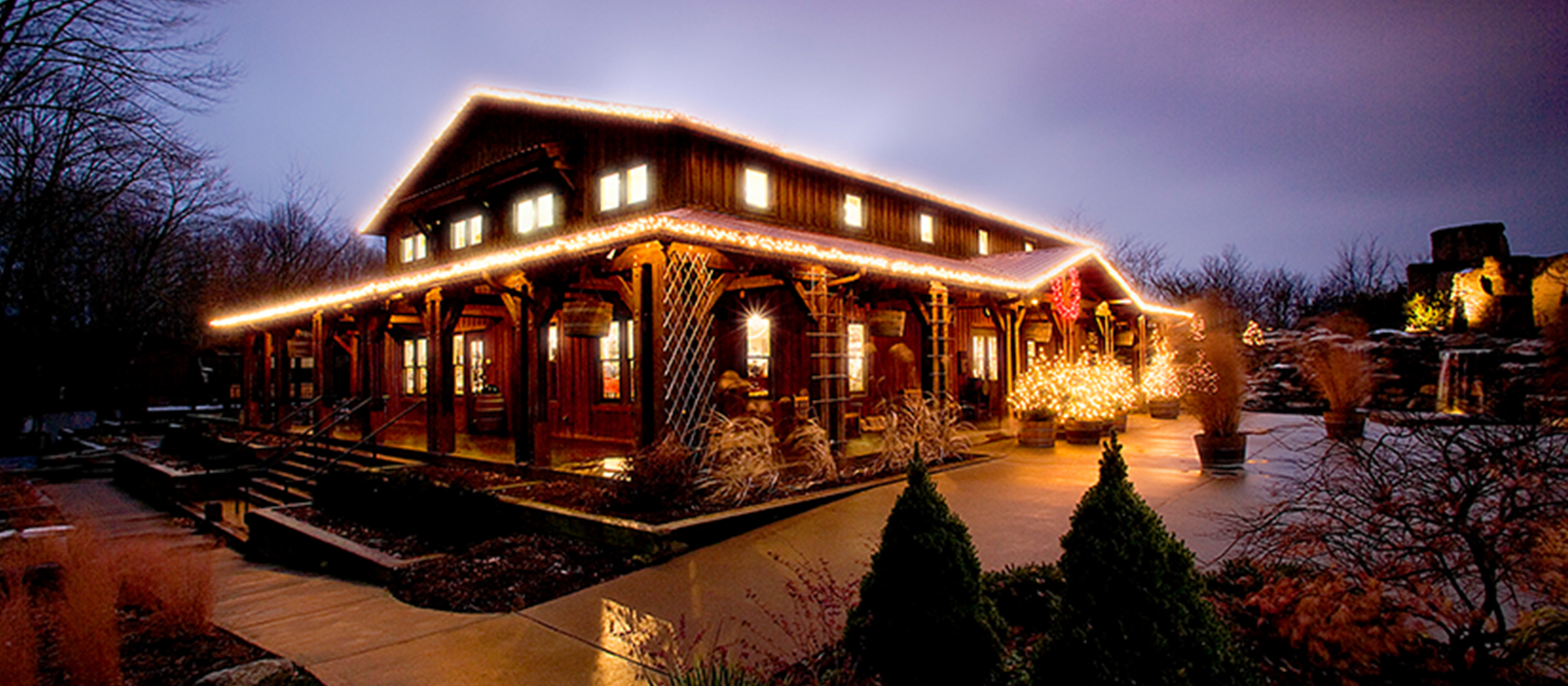 Holiday lights at Oliver Winery during the winter season.